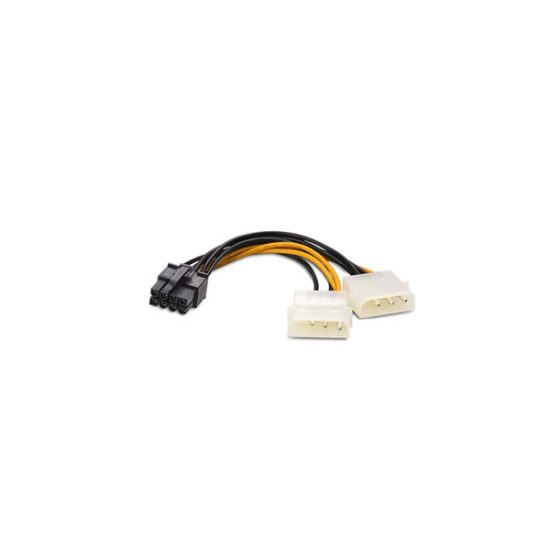 2 x 4Pin Molex to 8 Pin PCI Express Male VGA Power Cable