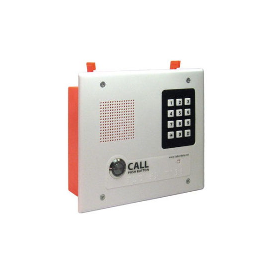Single Button Flush Mounted VoIP Intercom with Keypad, PoE and Signal White Housing