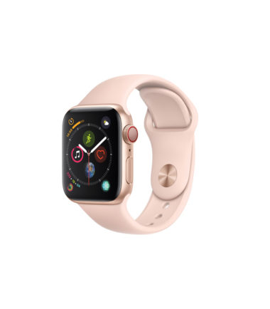 Apple Watch Series 4 44mm Gold Aluminun Case with Pink Sand Sport Band (MTVW2, GPS+Cellular)