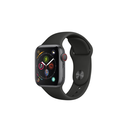 Apple Watch Series 4 44mm Grey Aluminum Case with Black Sport Band (MTXM2, GPS+Cellular)