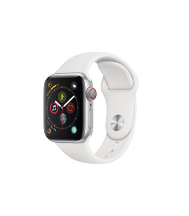 Apple Watch Series 4 44mm Silver Aluminun Case with White Sport Band (MTVR2, GPS+Cellular)