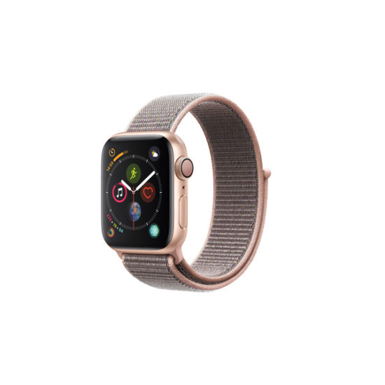 Apple Watch Series 4 (GPS Only, 40mm, Gold Aluminum, Pink Sand Sport Loop, MU692)