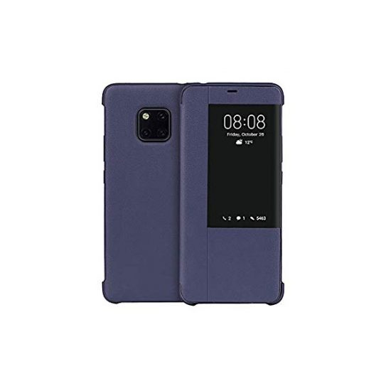 Momax Smart View Flip Leather Stand Cover For Huawei Mate 20 X - Dark Blue
